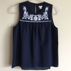 J CREW Factory Embroidered Cotton Linen Shell Tank